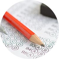 Pencil with multiple choice questions